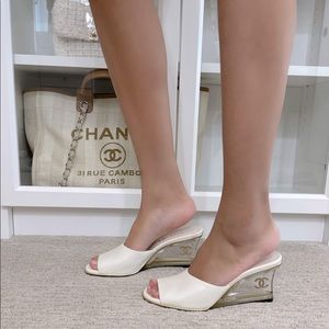 White Chanel Mules